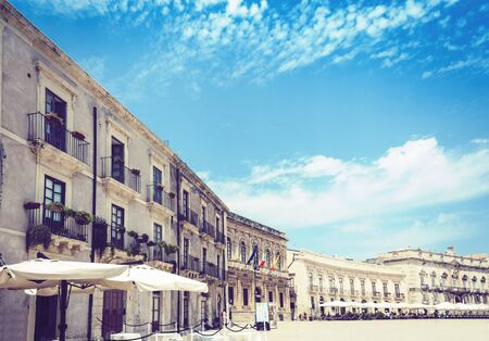 Syracuse (Siracusa), Sicily, Italy, ancient square Piazza del Duomo with old buildings in Ortygia (Ortigia) Island Stock Photo