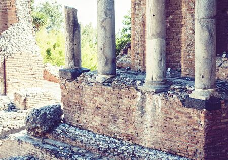 Fragment of ruins of amphitheater in Taormina, Sicily, Italy Stock Photo