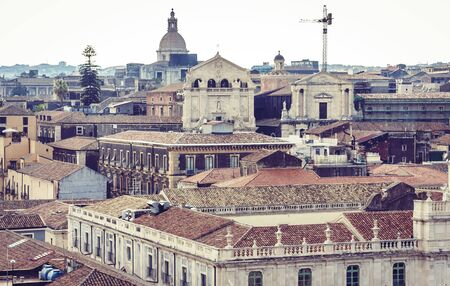 Catania sunset, aerial cityscape, traditional architecture of Sicily,  Southern Italy Stock Photo