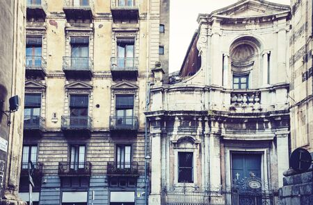 Beautiful cityscape of Italy, facade of old cathedral in Catania, Sicily, Italy, famouse baroque church