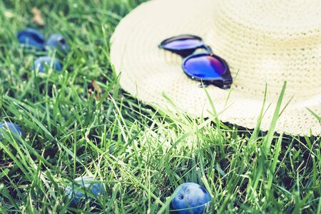 female wicker hat and sunglasses on the lawn on the grass in the  garden with plum trees Stockfoto - 128614449