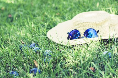 female wicker hat and sunglasses on the lawn on the grass in the  garden with plum trees