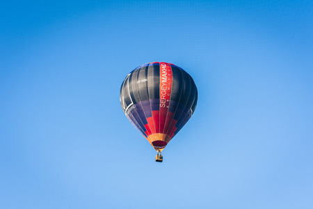 Kiev, Ukraine – August 19, 2019: air balloon fly in the sky over the city in sunny day
