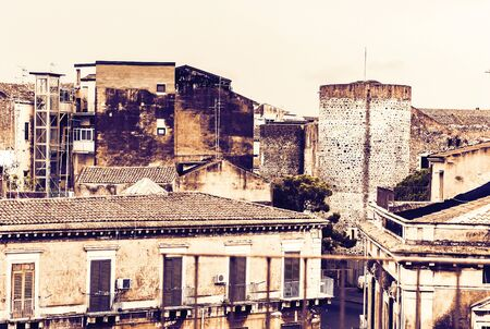 Catania rooftop on sunset, aerial cityscape, traditional architecture of Sicily,  Southern Italy
