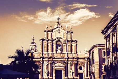 Beautiful cityscape of Italy on sunset, facade of old cathedral in Catania, Sicily