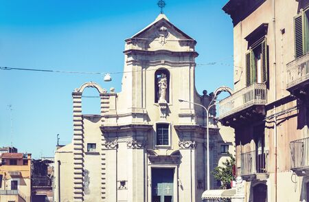 Beautiful cityscape of Italy, facade of old cathedral in Catania, Sicily Zdjęcie Seryjne