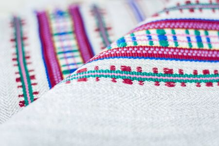 woven linen towels with embroidery, traditional handmade in Ukraine Standard-Bild - 133672349