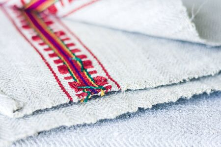 woven linen towels with embroidery, traditional handmade in Ukraine Standard-Bild - 133672358