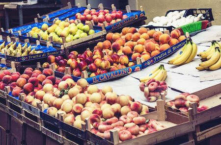Catania, Sicily, Italy – august 08, 2018: various colorful fresh fruits in the fruit market