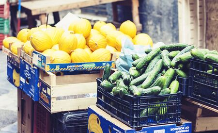 Catania, Sicily – august 08, 2018: Various colorful fresh fruits and vegetables in the fruit market