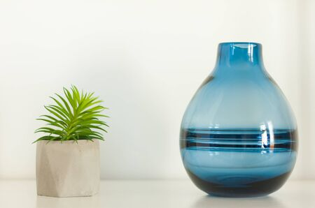 Potted house plant cactus succulent in gray pot and blue glass vase on the shelf against white wall. Cozy home modern decor in minimalistic scandinavian interior