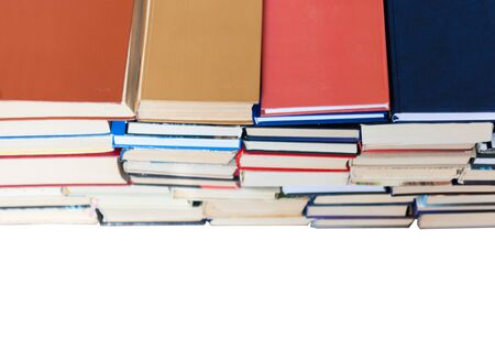 stack of book, isolated on white background, education concept, back to school, many books piles with copy space for text