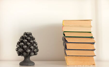 stack of old book and vase, education concept background, many books piles with copy space for text Foto de archivo