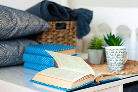 Cozy home interior decor: stack of books, plants in pots on a wicker stand, pillows and plaid on a white table. Distance home education. Quarantine concept of stay home