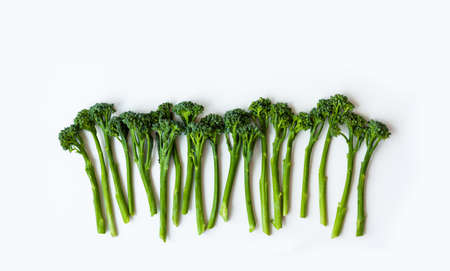Fresh broccolini isolated on white background with copy space Reklamní fotografie