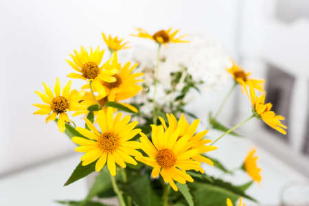 bouquet of yellow flowers in a vase on a white table in the room 免版税图像