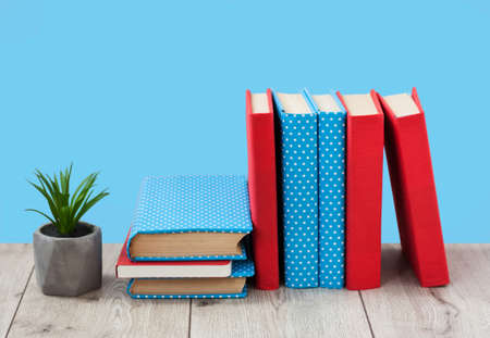 pile of books in colorful covers and plant in pot on wooden table on a blue background. Back to school distance home education.Quarantine concept of stay home
