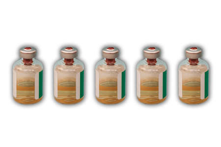 Medicine bottles with injection fluid with aluminum caps,  virus vaccine on white background.  epidemic, Cancer, painand diabetes treatment, pharmaceutical medicine concept