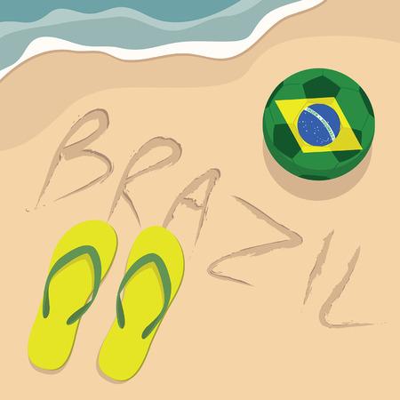 brazil beach: Brazil beach with football and slippers