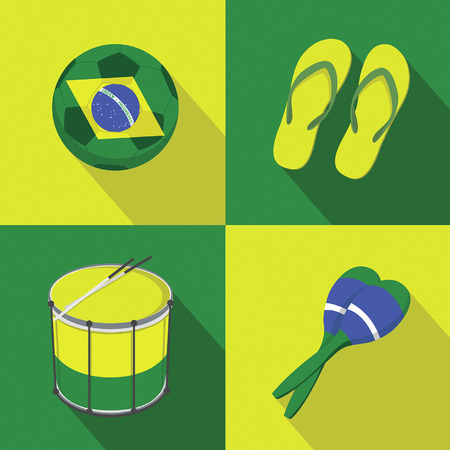 world cup: Brazil Soccer football icons flat style