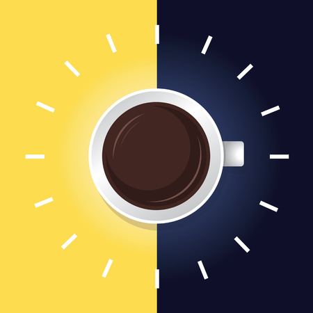 dia y noche: La hora del caf� la noche del d�a Vectores
