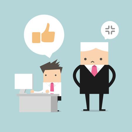 Salary man play social network and boss stand behind him