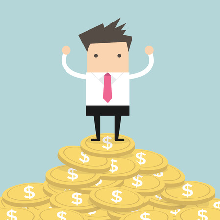 Businessman standing on gold coin Stock Vector - 29002563