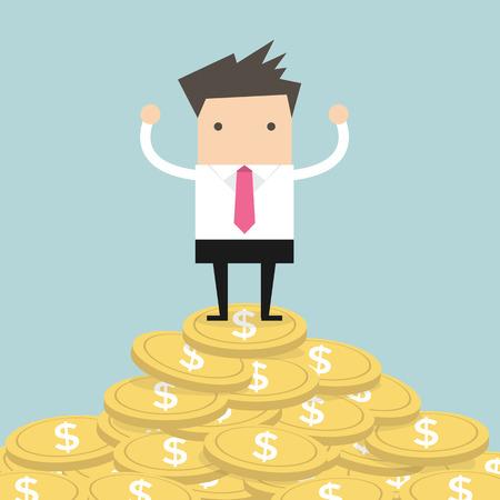 Unternehmer, die auf Goldmünze