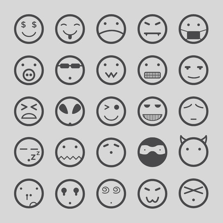 bored face: Smiley faces icons set