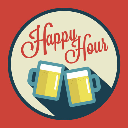 happy hour illustration with beer over vintage background Vector