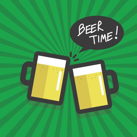 happyhour: Beer time flat design vector