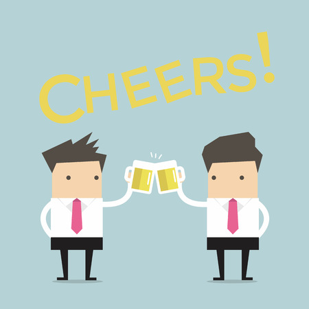 cheers: Business man to toast with beer vector Illustration