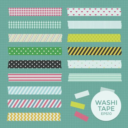 Collection of Cute Patterned Washi Tape Strips Vector
