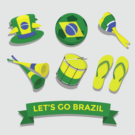 scarf beach: Let s go Brazil icon for cheering fan set Illustration