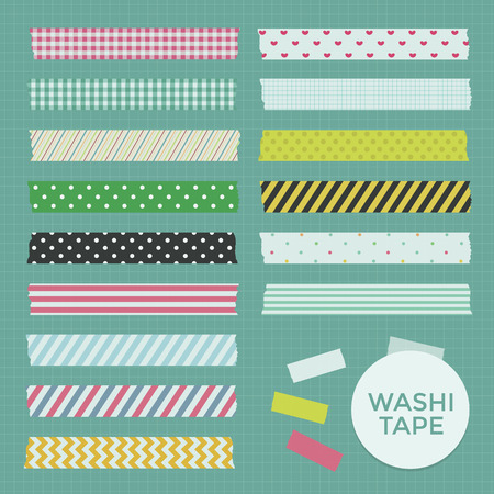 masking tape: Vector Collection of Cute Patterned Washi Tape Strips Illustration