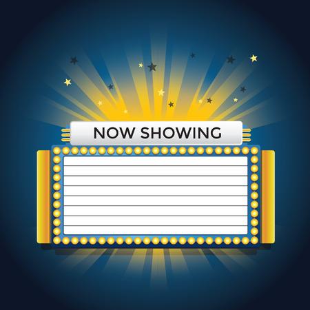 marquee sign: Ora mostra retro cinema neon Vettoriali