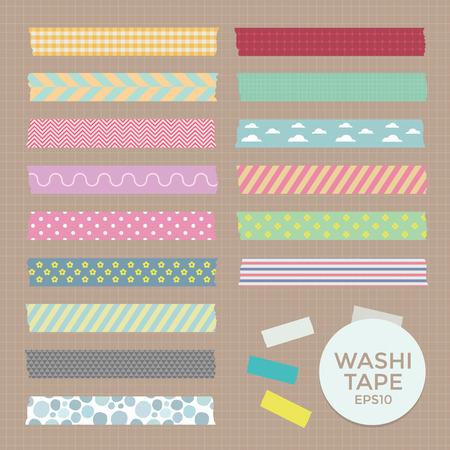 páska: Vektorové kolekce roztomilý vzorované Washi Tape pásky