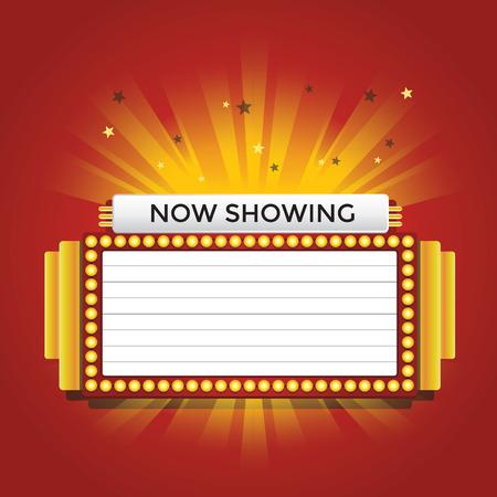 marquee sign: Ora mostra retr� cinema neon segno Vettoriali