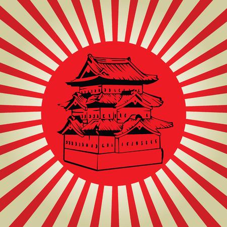 Japan castle on sun flag Vector