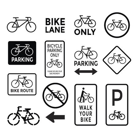 pedaling: bicycle signs black and white set vector