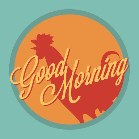 rooster at dawn: Gallo e il sole Buongiorno stile vintage Vettoriali