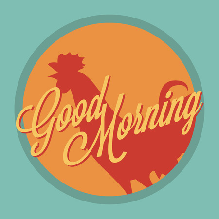crowing: Rooster and sun Good morning vintage style Illustration