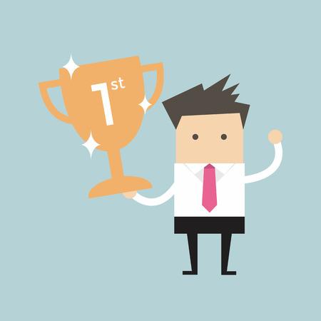 Geschäftsmann hält gewinnende Trophäe Vektor Illustration