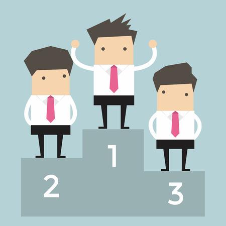 ranking: Businessman celebrates on Winning Podium  Illustration