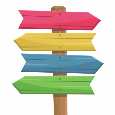 directional arrow: illustration of wooden route sign color