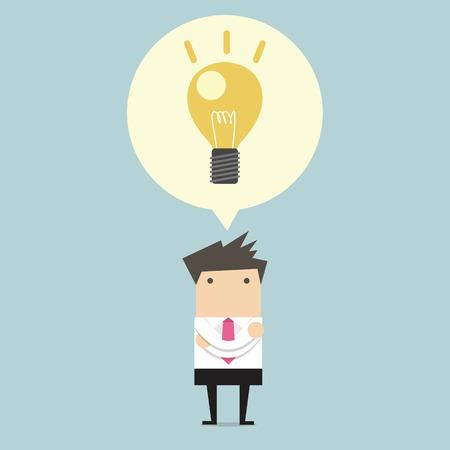 Creative businessman get the idea under a lightbulb