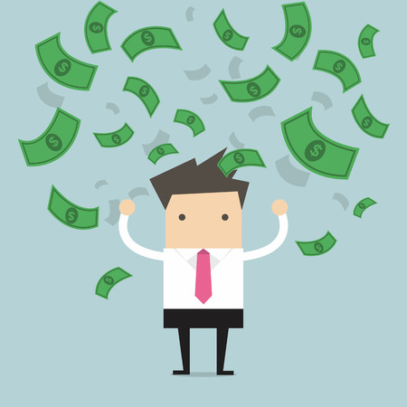 Businessman happy with a lot of dollar banknote flowing in the air vector Illustration
