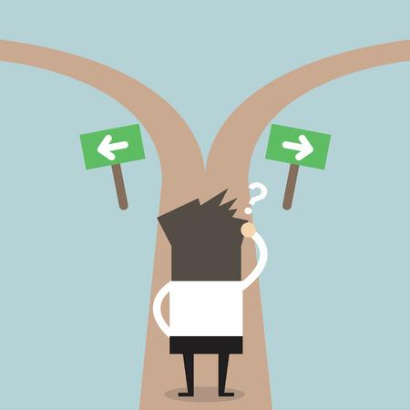 Businessmen hesitate to choose path. decision concept.