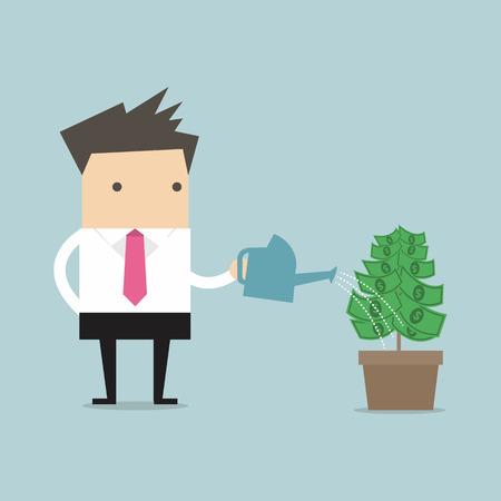 grow money: Businessman watering money plant vector Illustration