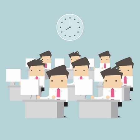 Geschäftsmann am Tisch in Office-Vektor